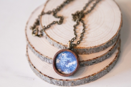 Blue Wood Pendant